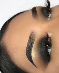 Smokey Black eye makeup eyeshadow #goldeyemakeup