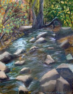 """Rocky Mountain Stream    I've recently gone up to the mountains near Colorado Springs to paint. This is one of perhaps several pieces that I plan to do from the Cheyenne Canyon.    This painting is an acrylic plein` air painting and it is 11"""" x 14"""" in size.     SOLD Original Artwork Details:  11""""H x 14""""W"""