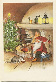 a postcard from Finland, illustrated by Irma Salmi in the Christmas Tale, Christmas Crafts, Christmas Illustration, The Elf, Vintage Cards, Beautiful Christmas, Yule, Gnomes, Troll