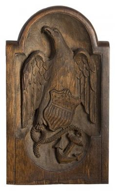 MINIATURE GANGWAY BOARD CARVED WITH AN EAGLE CLUTCHING A STARS AND STRIPES SHIELD, ROPE AND ANCHOR. Eagles Tattoo, Wallpaper W, Pastel Wallpaper, Patriotic Symbols, Louvre Paris, Peacock Bird, Old Glory, Bird Art, Memes
