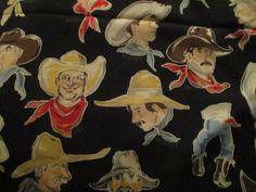 Vintage Fabric Alexander Henry BUCKARROS Phillip de leon Western Cowboy 1/2 yd #AlexanderHenry