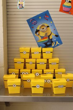 Party favor boxes painted for our minion themed birthday party