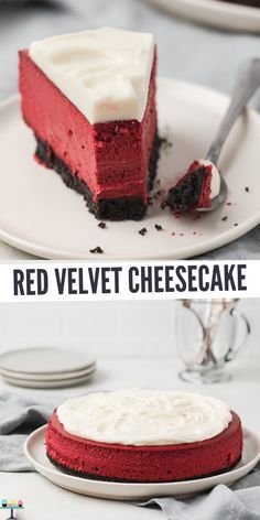 This Red Velvet Cheesecake lives up to its name with its velvety smooth texture. Its tangy sweetness is incredibly balanced and sure to be a hit. recipes classic recipes easy recipes easy homemade recipes easy philadelphia recipes new york recipes no bake Cheesecake Facil, Homemade Cheesecake, Chocolate Cheesecake Recipes, Raspberry Cheesecake, Simple Cheesecake Recipe, Non Bake Cheesecake, French Cheesecake, Skinny Cheesecake, Desert Recipes