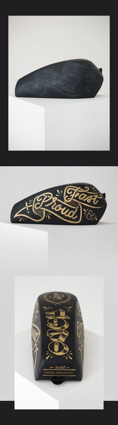 Hand painted motorcycle tank with gold lettering!
