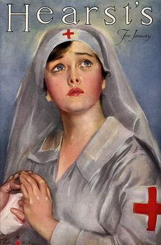 Red Cross Nurse... Hearst's for January- Vintage Victorian Magazine Cover