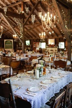 A vintage and rustic barn wedding reception decor