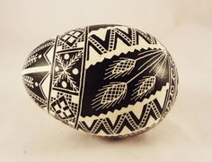 Lenten Pysanky Egg Wheat Black and White by GoldenEggPysanky
