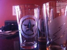 Etched glass-- superheroes