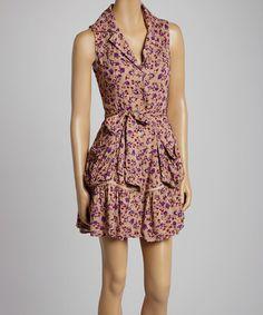 Love this Purple & Beige Floral Sleeveless Dress on #zulily! #zulilyfinds