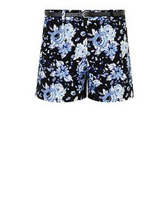 Teens Black Chiffon Floral Print Belted Shorts  | New Look