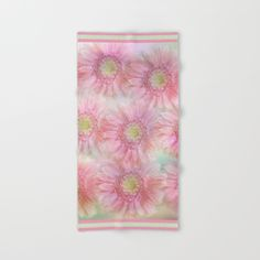 Pink daisies on a pastel background. Hand & Bath Towel