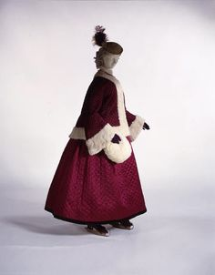 1860s skating costume: fur trim, hat, muff, and quilted silk coat