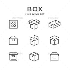 ▧ [Nulled]▫ Set Line Icons Of Box Box Cargo Case Container Crate Delivery Web Design, Icon Design, Graphic Design, Flat Design, Design Art, Icons Web, Layout, Express Logo, Icon Package