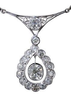Deco Diamond Platinum Pendant Necklace.