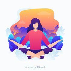 Flat design yoga character for landing p. Art And Illustration, Flat Design Illustration, Character Illustration, Vector Design, Web Design, Site Design, Character Flat Design, Design Plano, Design Thinking