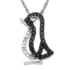 """XPY 14k White Gold Black and White Diamond Penguin Pendant (1/6 cttw), 18"""" Amazon Curated Collection. $179.99. Made in Hong Kong. 6 white diamonds, I-J Color, I2-I3 Clarity. The total diamond carat weight listed is approximate. Variances may be up to .01 carats."""