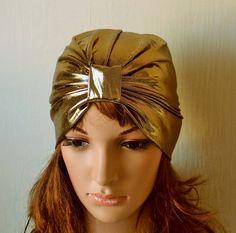 Gold Jersey Full Turban Hat, Party Turban, Retro Head Covering, Stylish Turban Hat , Summer Hair Bonnet, Asian Style Hat, Shiny Turban by accessoriesbyrita on Etsy