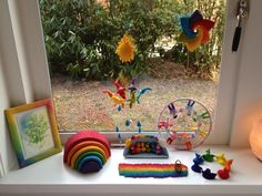 Rainbow felt seasonal or nature table