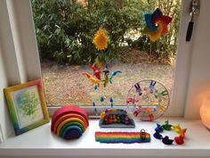 rainbow felt seasonal/nature table