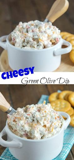 Cheddar Green Olive Dip - A creamy, cheesy, salty green olive, dip that is great warm or cold. Easy Appetizer Recipes, Appetizer Dips, Yummy Appetizers, Appetizers For Party, Snack Recipes, Cooking Recipes, Cold Dip Recipes, Party Recipes, Recipes Dinner