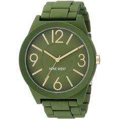 Nine West/1678GRGR Matte Green Rubberized Metal Bracelet Watch ($37) ❤ liked on Polyvore featuring jewelry, watches, bracelets, accessories, jewelry watch, rubber watch bracelet, bracelet watch, green watches, rubber wrist watch and green jewellery