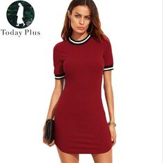709453d330a Women s Mini Dress  Slim O-Neck Short Sleeve Solid Knitted Ladies Casual  Party Dress
