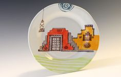 Village Hut Plate by Birds at Noon. American Made. See the designer's work at the 2016 American Made Show, Washington DC. January 15-17, 2016. americanmadeshow.com #americanmade, #americanmadeshow, #ceramic, #pottery, #plate