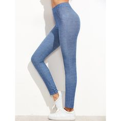 Blue Denim Look Leggings ($8.99) ❤ liked on Polyvore featuring pants, leggings, blue, white leggings, denim crop pants, denim leggings, blue denim leggings and stretchy pants