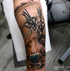 Clock Face, Candle & Smoke Guys Sleeve | Best tattoo ideas & designs