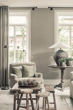 verfijnd-landelijk-interieur-woonhuis-woonkamer Home Design Living Room, My Living Room, Home And Living, Living Room Decor, Home Furniture, Furniture Design, Interior Decorating, Interior Design, Interior Exterior