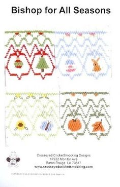 Versatile smocking design plate with designs for all four seasons! Christmas smocking included.