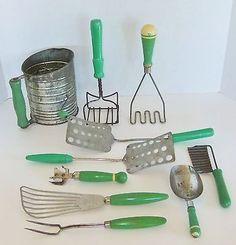 Vintage Primitive Green Wood Handled Kitchen Utensils.