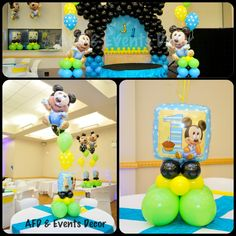 Baby Mickey Mouse Themed Birthday Party ... Decor By: Azcona Floral Designs & Events Decor ... www.azconafdeventsdecor.com