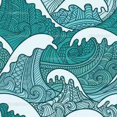 Ocean Waves Everyday Pillow by FuzzyChair - CafePress Wave Pattern, Pattern Design, Abstrakt Tattoo, Dibujos Zentangle Art, Wave Drawing, Wie Zeichnet Man Manga, Surfboard Art, Sea Art, Zentangle Patterns