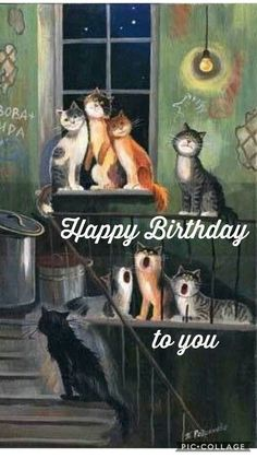 New Ideas Cats Illustration Calico Happy Birthday Images, Happy Birthday Greetings, I Love Cats, Crazy Cats, Dog Illustration, Cat Illustrations, Cat Birthday, Cat Drawing, Cat Art