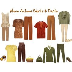 """""""Warm Autumn Shirts & Pants"""" by jeaninebyers on Polyvore ~ most of these are in my Zyla palette"""