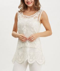 Look at this Simply Couture Beige Floral Crochet Tank on #zulily today!