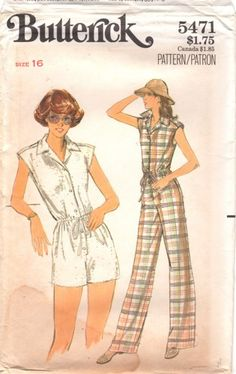1970s Butterick 5471 Misses SleevelessJ umpsuit Romper Pattern womens vintage 70s sewing pattern Size 16 Bust 38 UNCUT | PatternGate - Craft Supplies on ArtFire