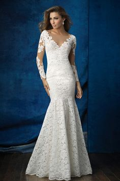 Wedding Dresses, Bridesmaid Dresses, Prom Dresses and Bridal Dresses Allure Wedding Dresses - Style 9377 - Allure Wedding Dresses, Fall We took a simple lace sheath and added an illusion neckline and sleeves for an ethereal, floral look. Wedding Dress Pictures, 2016 Wedding Dresses, Wedding Dress Styles, Designer Wedding Dresses, Bridal Dresses, Wedding Gowns, Bridesmaid Dresses, Lace Wedding, Mermaid Wedding