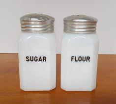 McKee Glass Sugar Flour Milk Glass Range Shakers Set of 2 - 1930's - Vintage by RainsandCo on Etsy