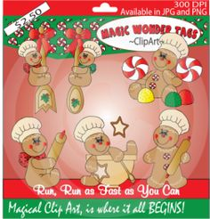 Gingerbread. https://www.facebook.com/pages/Magic-Wonder-Tags-owner-Donna-Siegrist/180355825327681?ref=hl  #gingerbread #christmas #clipart #cute
