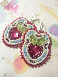 Beaded  Strawberry earrings by WildlyBeadingHearts on Etsy, $48.00