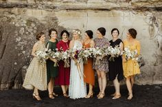Love this capture by of beautiful bride Aimee and her colourful bridal party. Casual Bridesmaid Dresses, Fall Wedding Bridesmaids, Bridesmaid Dress Colors, Bridesmaids And Groomsmen, Wedding Dresses, Prom Dresses, Formal Dresses, Casual Wedding, Wedding Attire