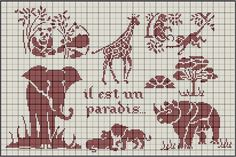 "Animals -- free cross stitch pattern -- Says ""it is a paradise"" in French"