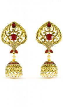 Stunning traditional red stone with american diamonds wedding wear earrings. Gives you a elegant look by grabing this earrings. Having material brass with studded stone and american diamonds. Offered with a set of earring. Jhumki Earrings, Sapphire Earrings, Stone Earrings, Drop Earrings, Pearl Cream, Diamond Design, Wedding Wear, Fashion Earrings, Blue Sapphire