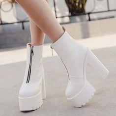 High Heels Boots, Platform Ankle Boots, Platform High Heels, Heeled Boots, Shoe Boots, White Heel Boots, White Heels, Heeled Sandals, Boots Cowboy