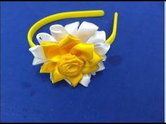 #TIARA DE FLOR DE FITA DE CETIM PASSO A PASSO CIDA REIS - YouTube Kanzashi Flowers, Girls Bows, Fabric Flowers, Hair Bows, Crafts, Videos, Youtube, Projects, Satin Ribbon Flowers