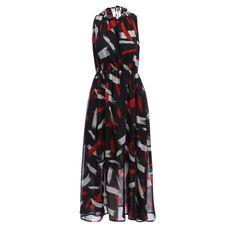 Women Summer Maxi Dresses Trendy Sleeveless Round Neck Print Tied Chiffon Women Dress Femininos festa vestido