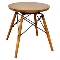 Charles Eames; Unique Walnut Veneer, Birch and Steel Swivel Stool, 1950s.