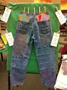Poetry theme: Poem in Your Pocket Day -  use small child's jeans for bulletin board, but be sure the pockets are big enough